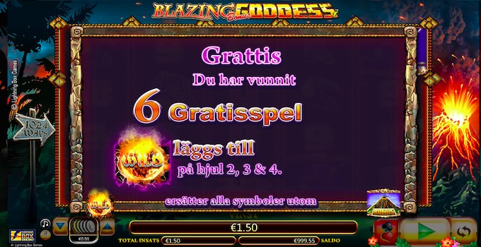Blazing Goddess Free Spins
